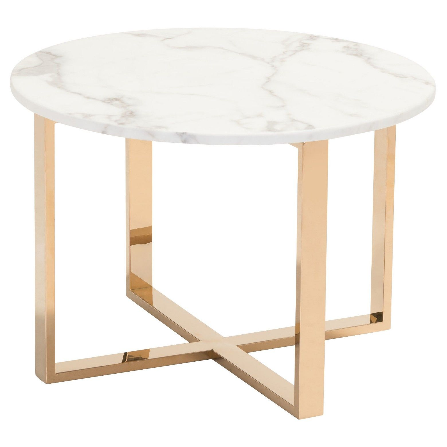 Modern 24 Round Faux Marble And Stainless Steel End Table Gold