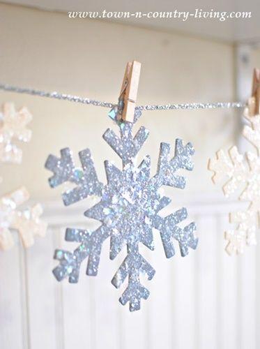 Set of WHITE Glitter Sparkle Snowflakes Christmas Craft Embellishments 100 Pcs