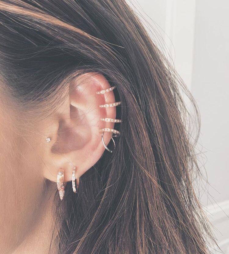 Lucy Hale ear party. Tiny gold ear rings. | Ear party ... Ear Piercings Pinterest