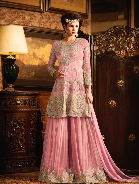 nikah wear suits buy online LIGHT PINK NET EMBROIDERED WEDDING ...