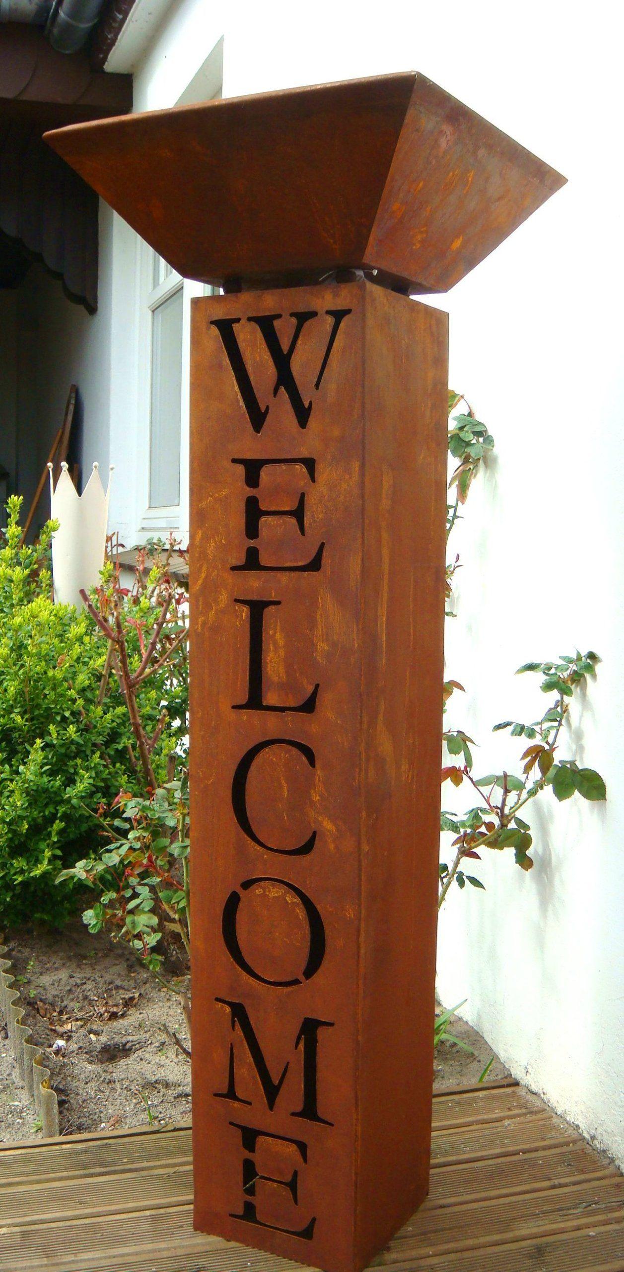 Gartendeko Metall säule mit schale rost welcome willkommen metall gartendeko edelrost