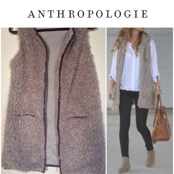 Long Fur Vest with Gold Hardware Awesome long fur vest from LA based-brand 213 Industry. Great quality, super thick faux fur blend material. Gold hardware adds polish! Taupe color goes with everything. The perfect statement piece! Slightly oversized S/M fit. purchased (online exclusive) at Anthropologie a year ago for $110. absolutely no signs of wear!! perfect condition. Anthropologie Jackets & Coats Vests
