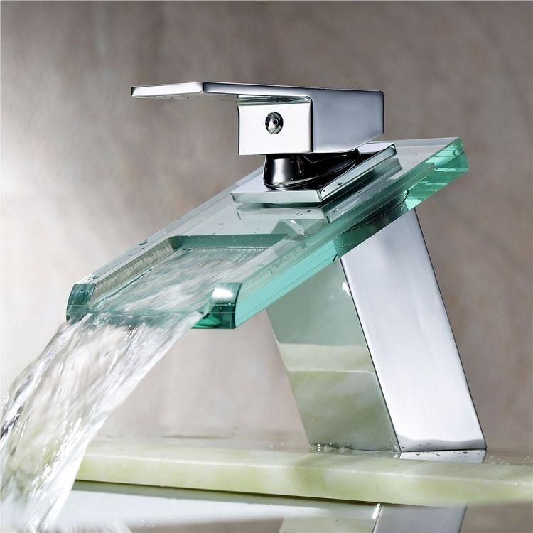 洗面蛇口 バス蛇口 冷熱混合水栓 ガラス製滝状吐水口 Ms19 蛇口 水