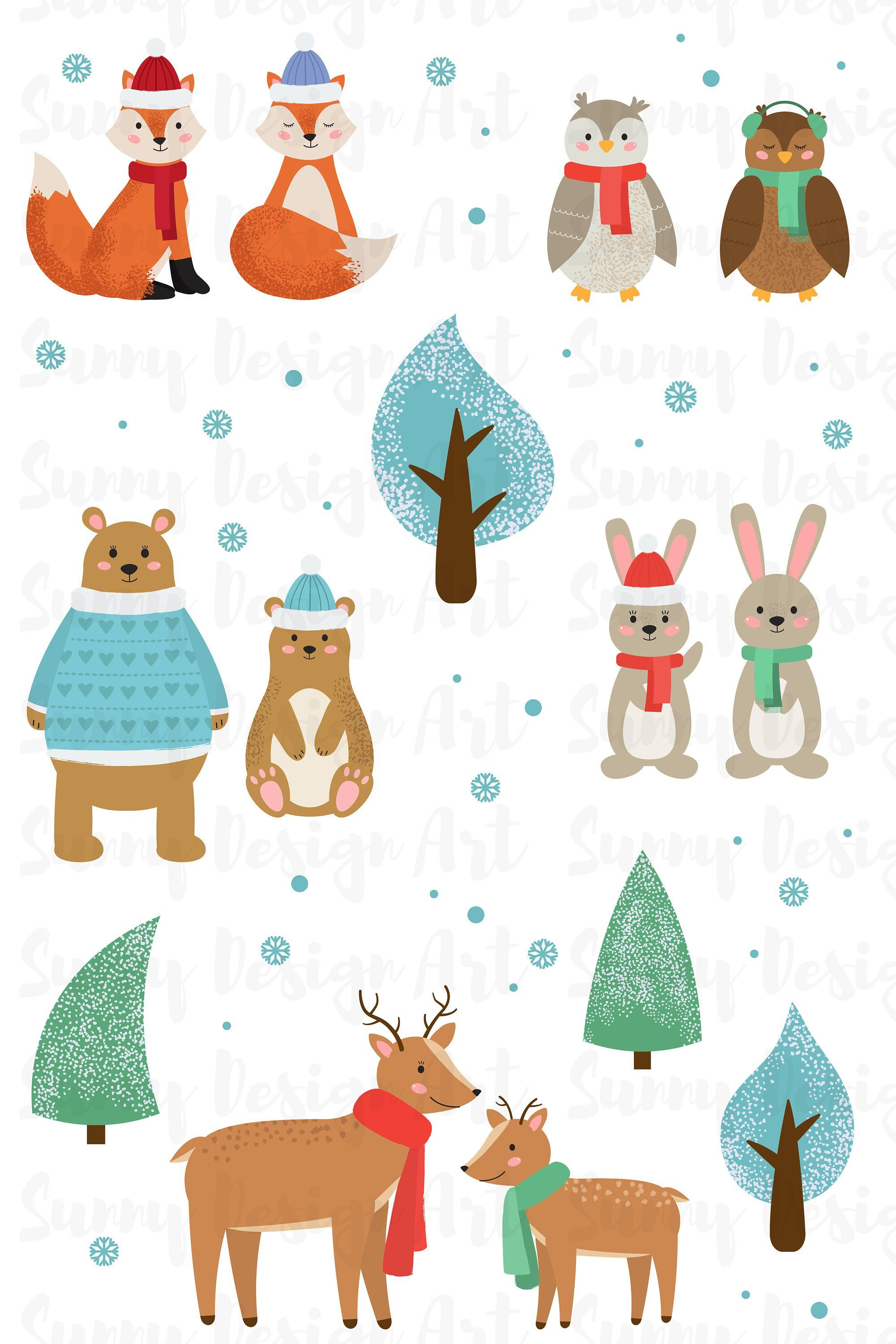 Winter Animals Clipart Cute Forest Animals Vector Woodland Clipart Christmas Animals Vector Holiday Animal Clip Art Instant Download Christmas Animals Animal Clipart Winter Animals