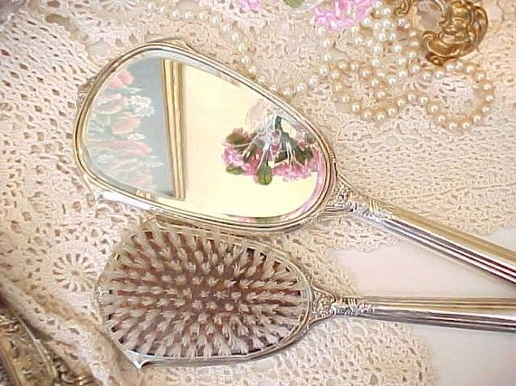 Antique Sterling Silver Hand Held Mirror Amp Brush Mirror