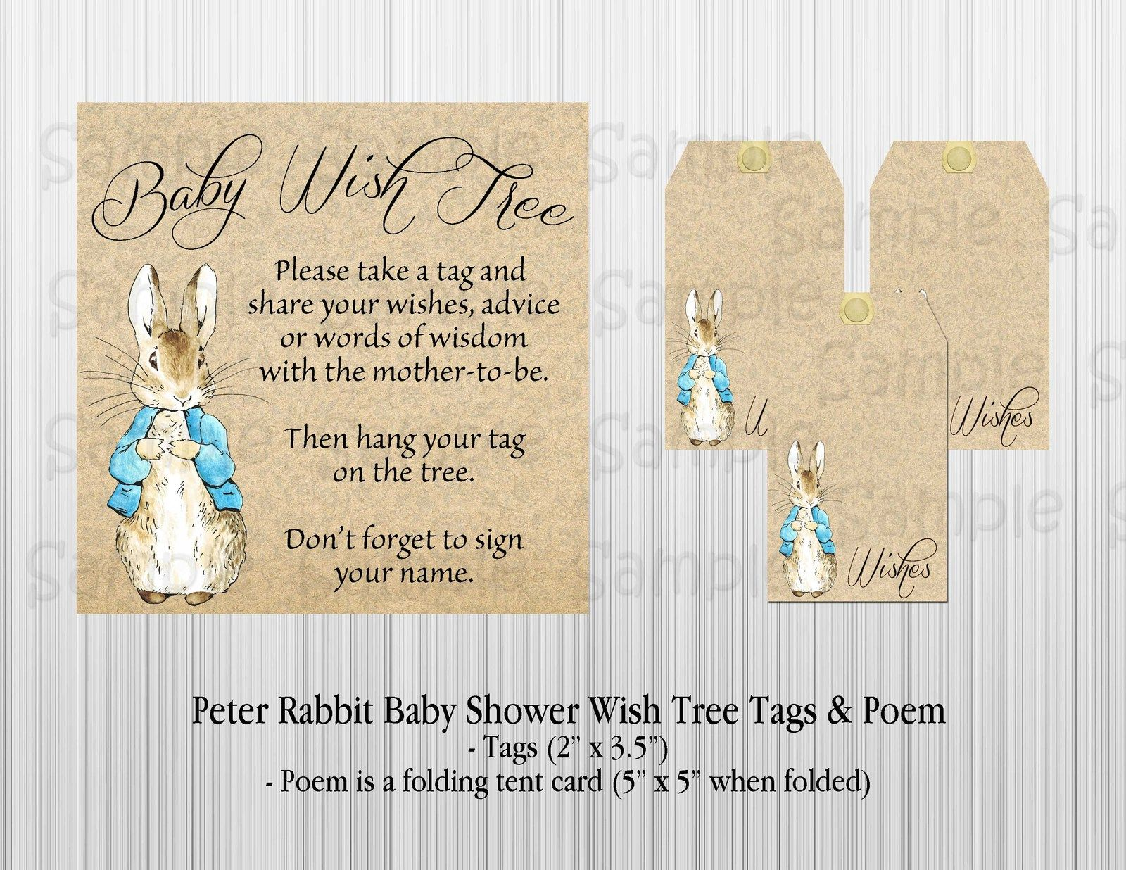 Peter Rabbit Baby Shower Wish Tree Tags And Poem With Satin Ribbon Attached Guest Books Pens Baby Shower Wishes Rabbit Baby Shower Tree Tags