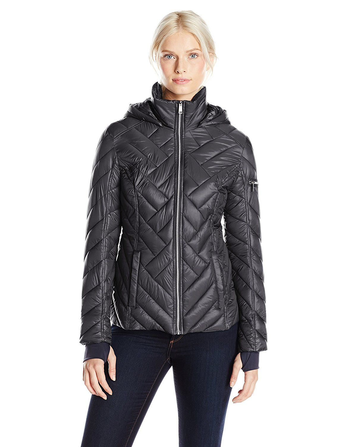 Nautica Women's Hooded Chevron Puffer Jacket at Amazon