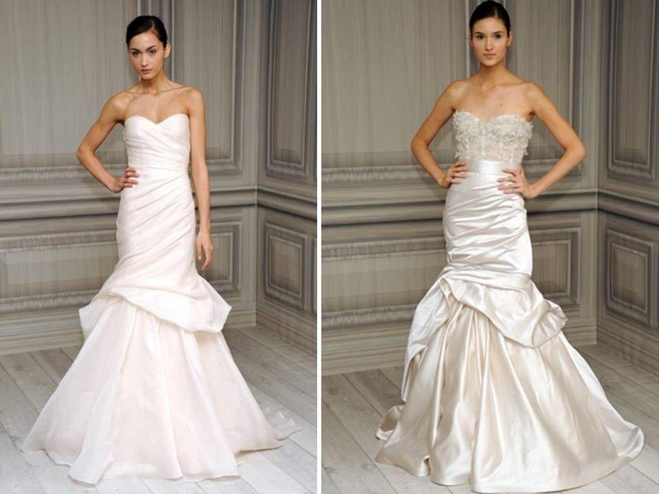 Modern mermaid Monique Lhuillier bridal gowns with bustle detail ...