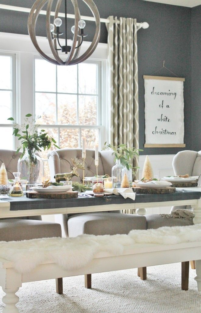 Modern Rustic Navy Holiday Dining Room