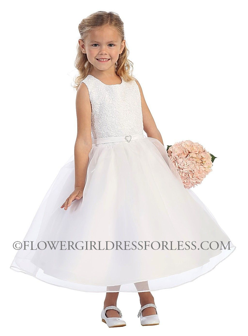 91887ed6a4ff TT_5571 - Girls Dress Style 5571- Choice of White or Ivory Sleeveless Organza  Dress with Lace Bodice - Embroidered Dresses - Flower Girl Dress For Less