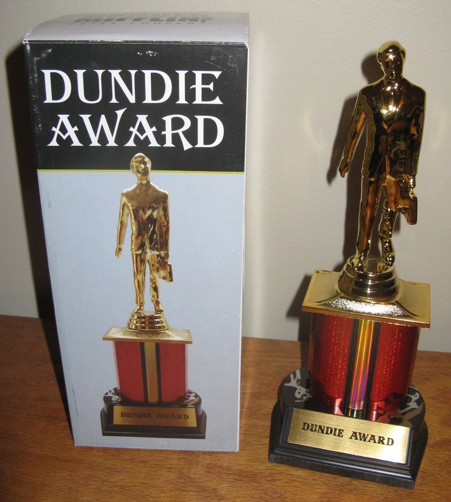 Official The Office Dundie Award Dunder Mifflin Trophy New Dundee Prop Tv Show Theoffice Dundermifflin Gifts Gifts For Office Office Tv Office Room Decor