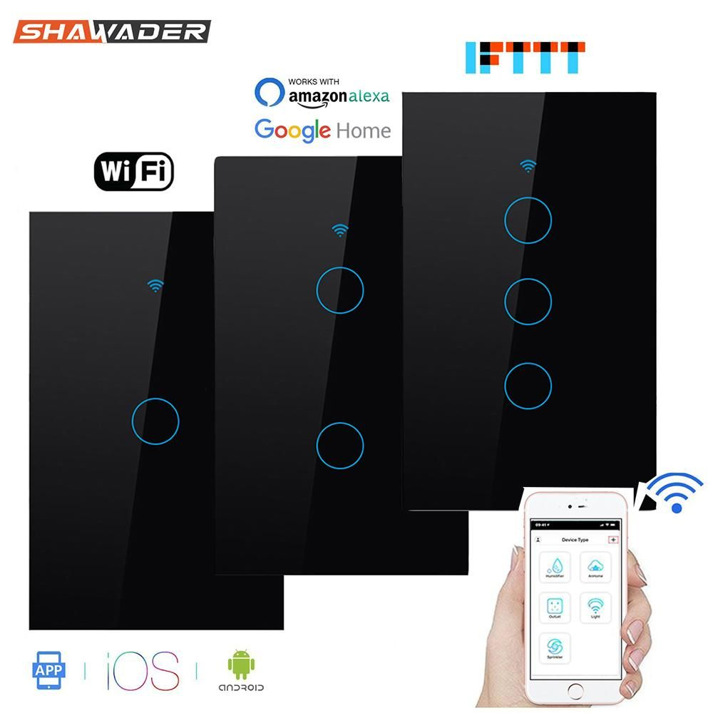 Wifi Smart Light Switch Glass Screen Touch Panel Voice Control Wireless Wall Switch Work With Alexa Echo Goo In 2020 Touch Light Switch Wifi Wall Switch Smart Lighting