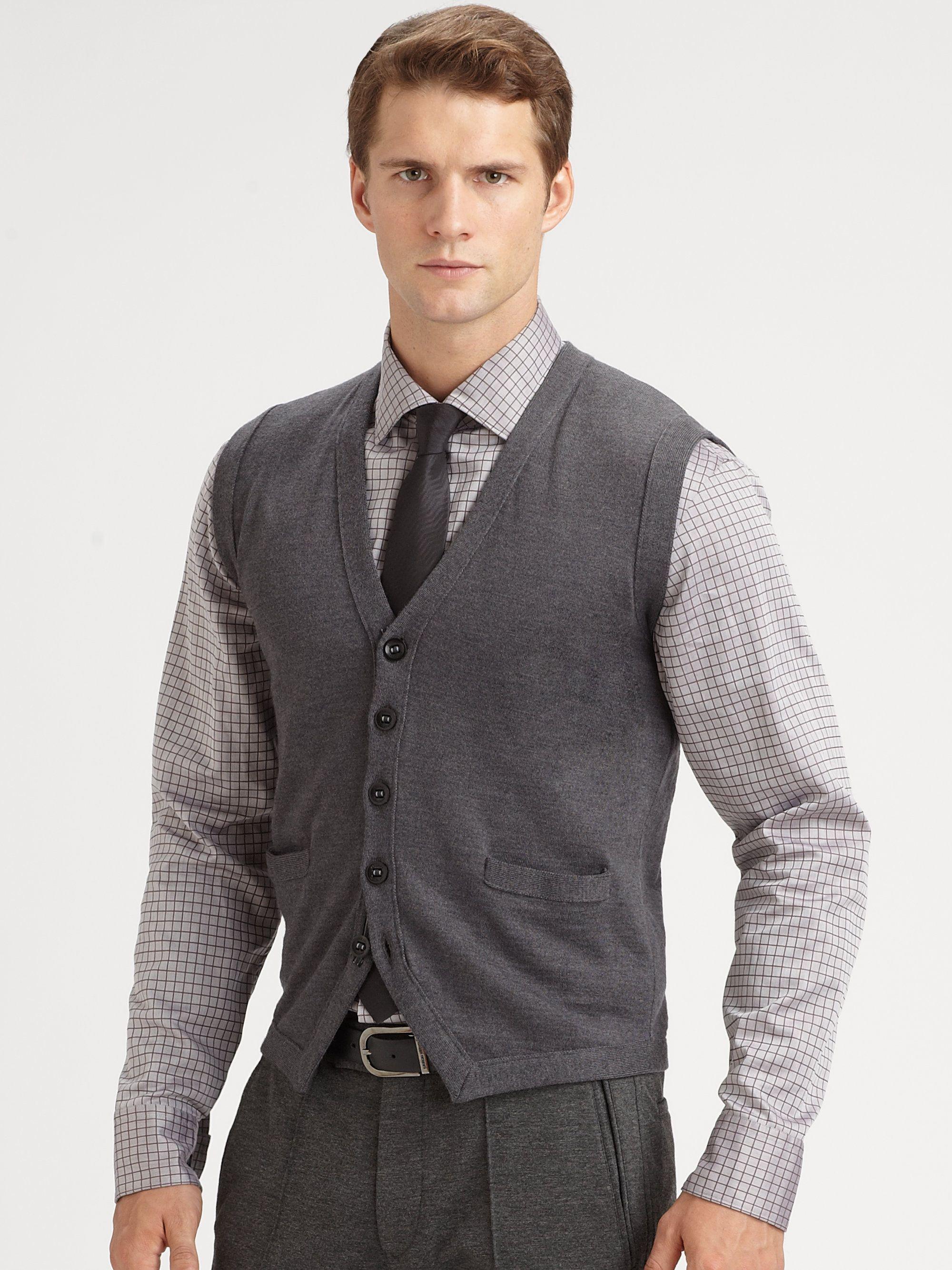 Armani Wool Sweater Vest in Gray for Men (grey) | Lyst | Men\'s ...
