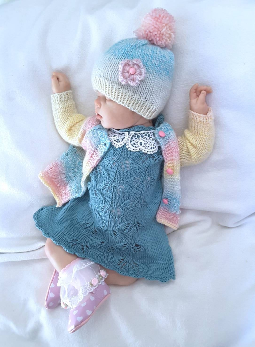 Hand Knit Baby Set. Knitted baby clothes. Knitted dress ...
