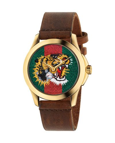 b2674867b32 38mm Tiger Face Watch w  Leather Strap