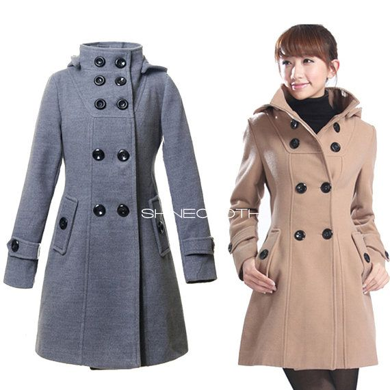 SHINECLOTH Double Breasted Wool Coat Long Winter Women Trench ...