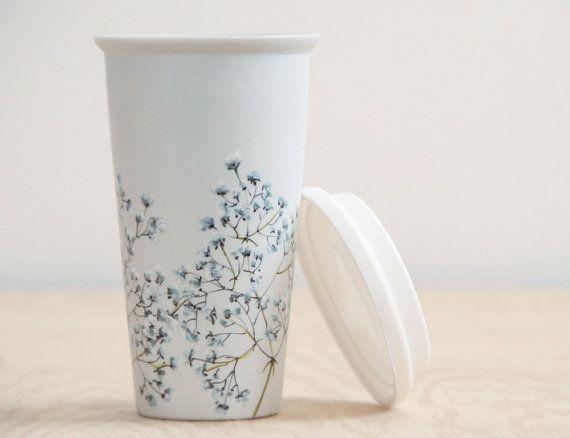 Ecofriendly Painted Ceramic Travel Mug Birch Trees By