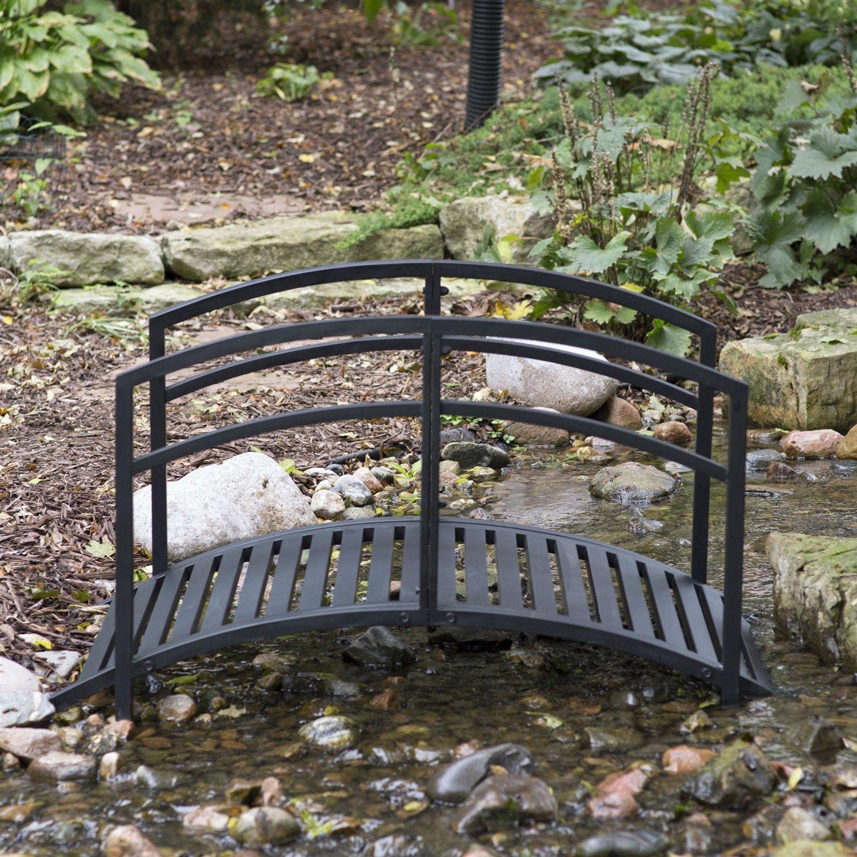 Genial Contemporary Outdoor 4 Ft Metal Garden Bridge In Black Steel With Side Rails