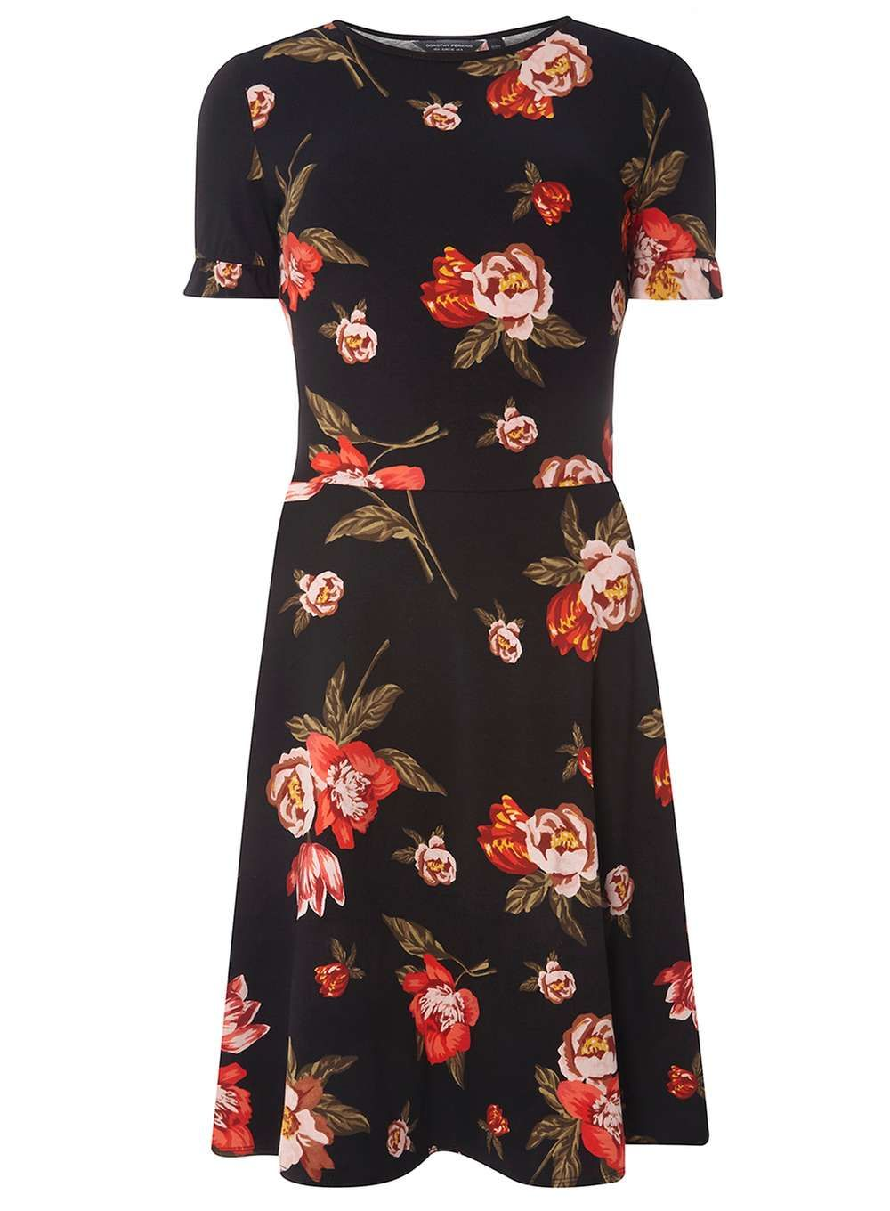 Tall Red And Black Floral Print Dress - View All Dresses - Dresses - Dorothy  Perkins United States c6e60c35e