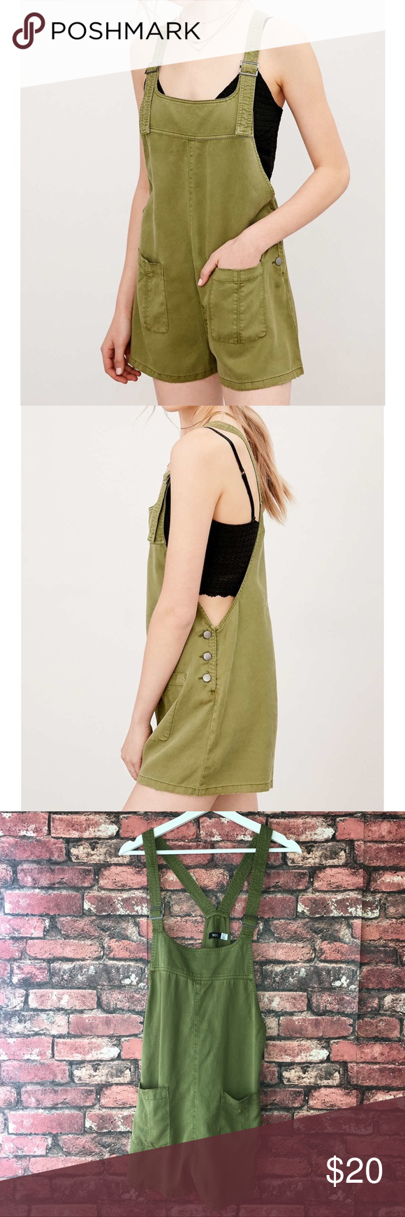 0a42b081cc BDG Nicki Overall Romper The perfect olive green overalls for the spring  and summer time. Great for festivals or causal sunny days out with family  or ...