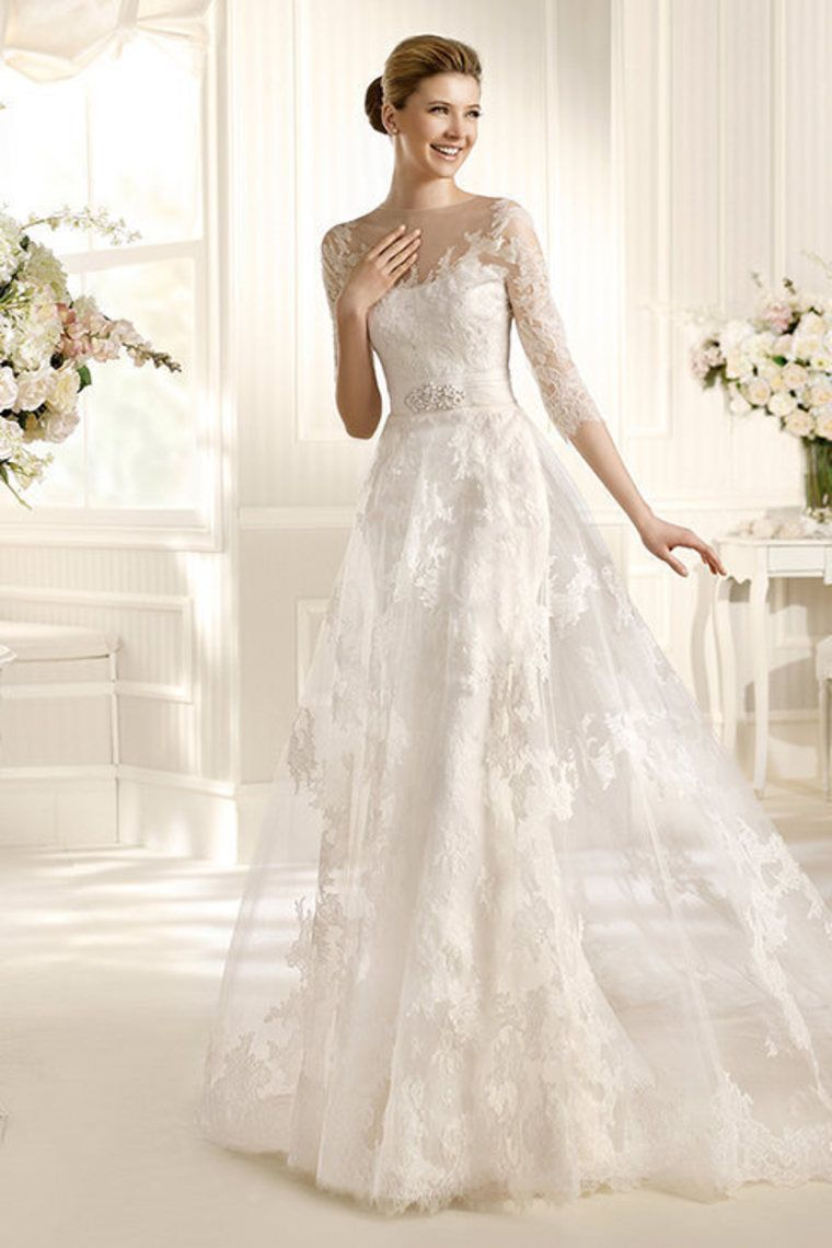 wedding dresses a line scoop court train lace mid length sleeve