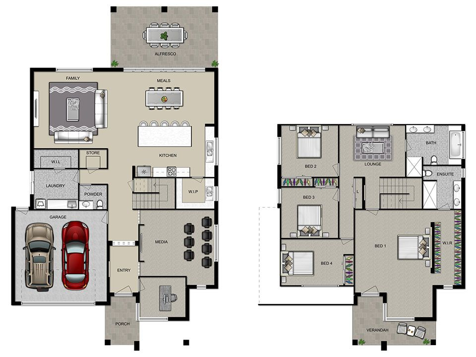 Beauteous double storey house plans house07 doublestory for Floor plan of a two storey house
