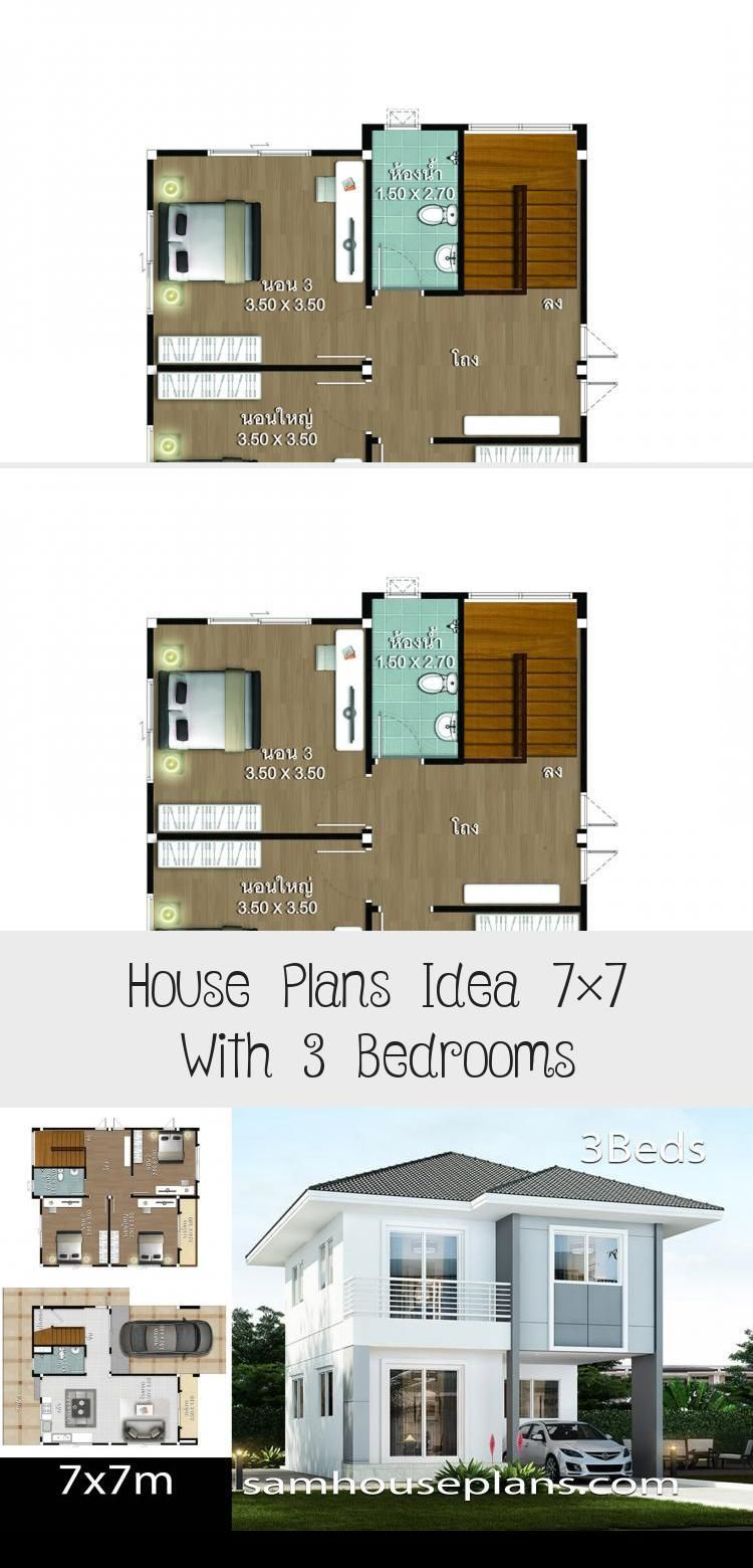 House Plans Idea 7x7 With 3 Bedrooms Sam House Plans Smallhouseplansminimalis 7x7 Bedrooms House In 2020 House Plans Courtyard House Plans Modern Architecture