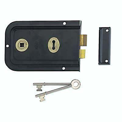 Union 1445 Pressed Rim Lock Black Rim External Doors Electronic Products