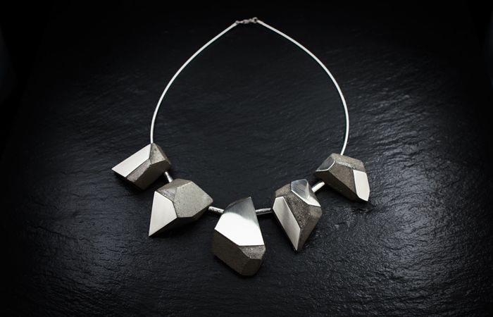 concrete and sterling silver necklace