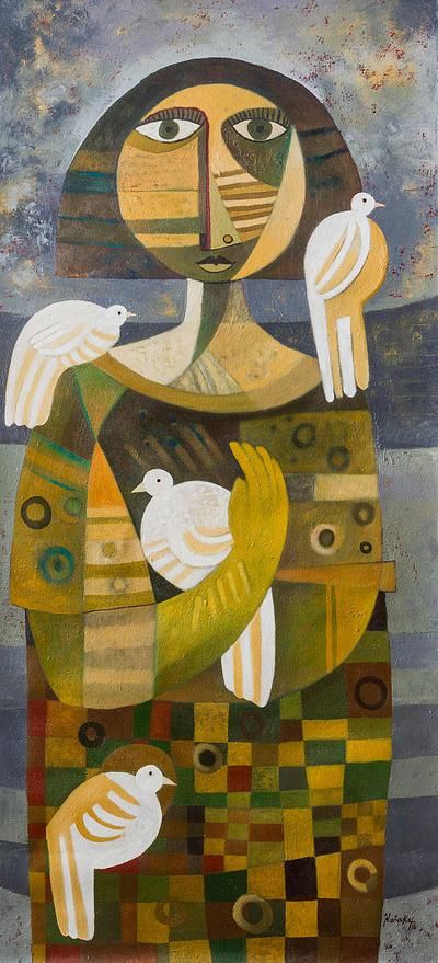 Signed Peruvian Cubist Painting of a Woman with Doves, \'Messenger of ...