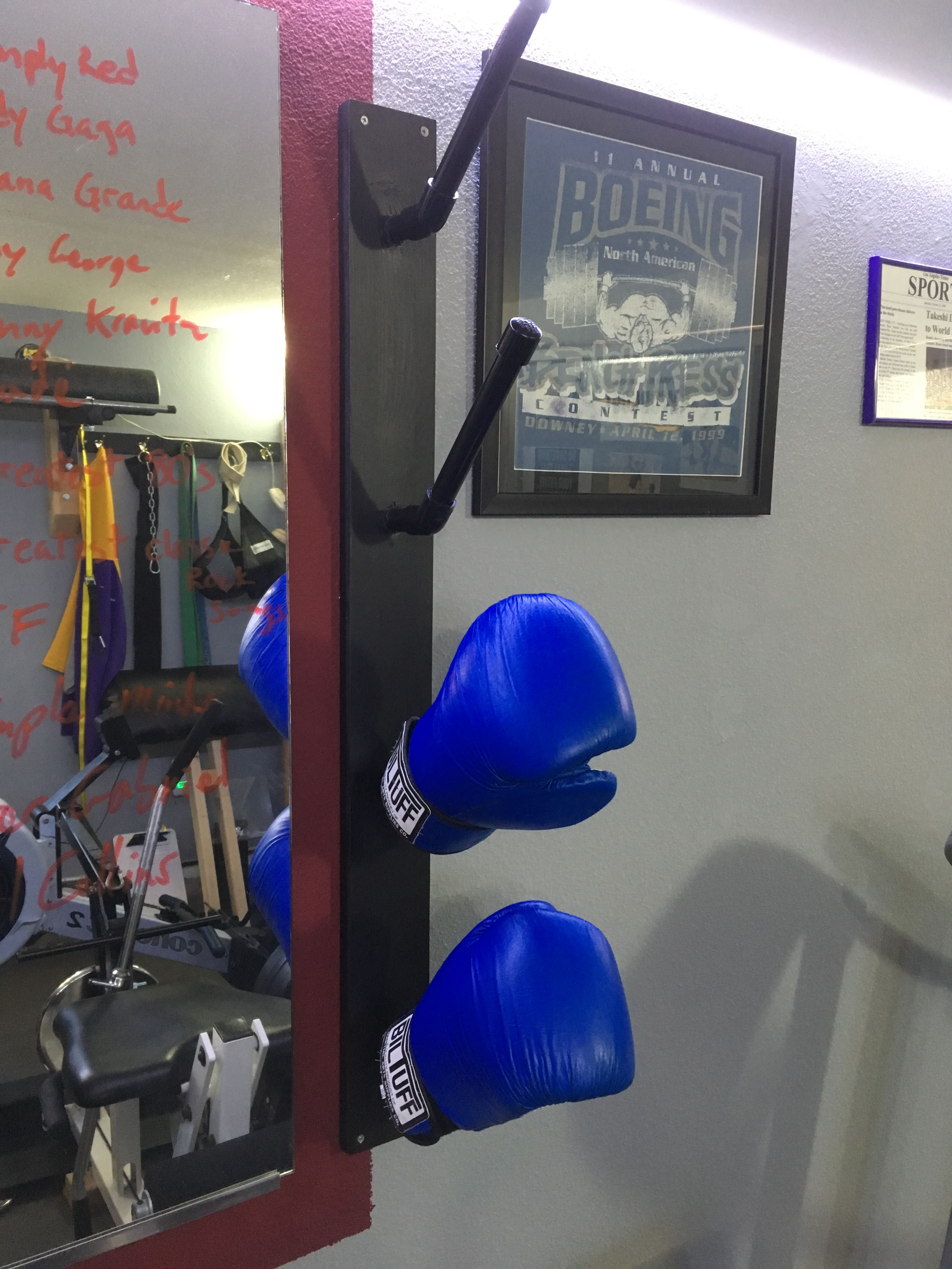 Diy Boxing Glove Rack Diy Home Gym Home Gym Garage No Equipment Workout
