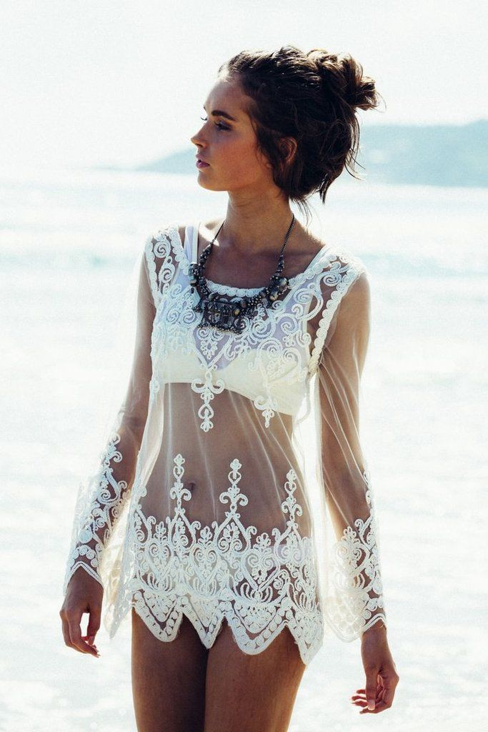 2ae54801f25 Lace Transparent Long Sleeves Beach Bikini Cover Up Dress - Oh Yours Fashion  - 1