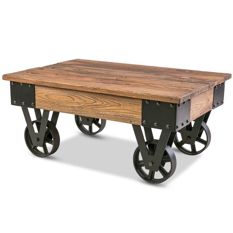 Deon Wheel Coffee Table Coffee Table Wood Country Coffee Table Solid Wood Coffee Table