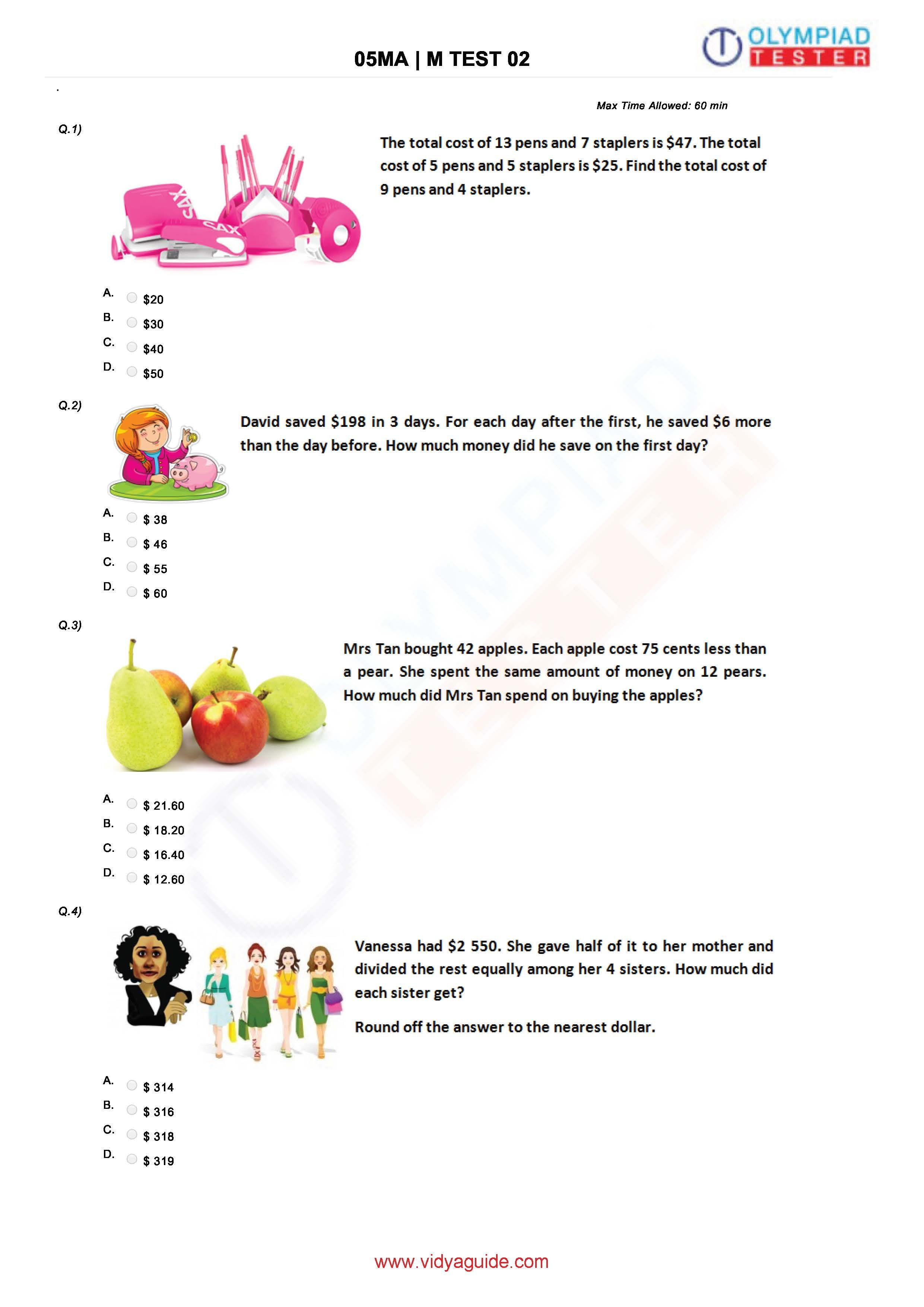 Download Free Grade 5 Maths Printable Worksheets Or Take These Tests Online At Vidyaguide Math Olympiad 5th Grade Math Grade 5 Math Worksheets