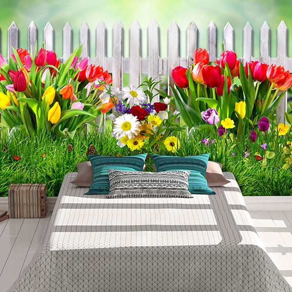 fotomural valla con tulipanes