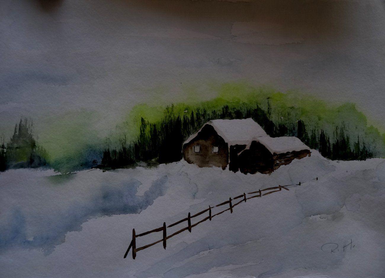 Aquarell Landschaft Landschaftsaquarell Haus Baume Blau Grun