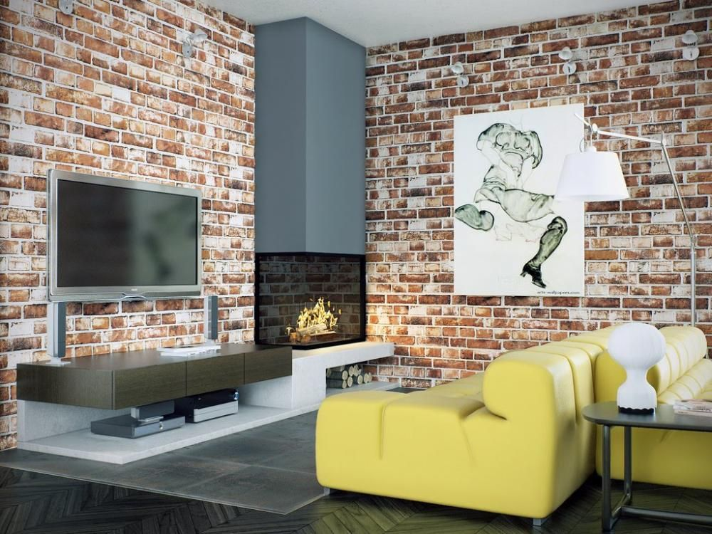 Interesting brick effect wallpaper with wooden floor and TV cabinet then yellow sofa and fireplace in the corner of room.
