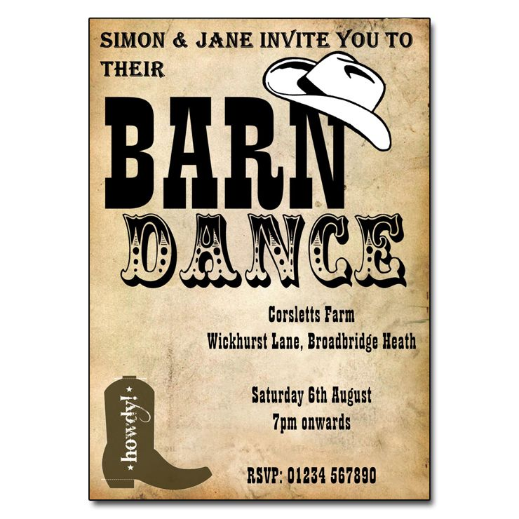 Barn Dance Party Invitations | Barn dance, Party invitations and Barn