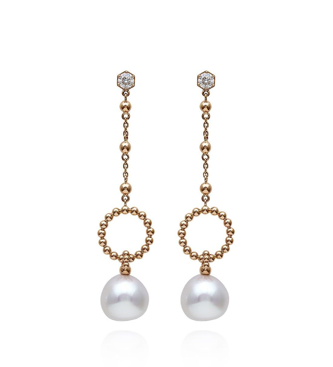 6ec9983a02ecf Circus Rose Gold South Sea Pearl Drop Earrings. New design in 18ct ...