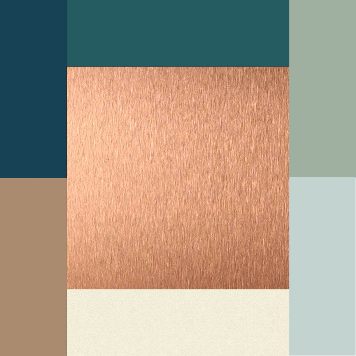 Colors Copper Ivory Brownish Tan Silvery Blue Moss Green Dark Teal And Navy