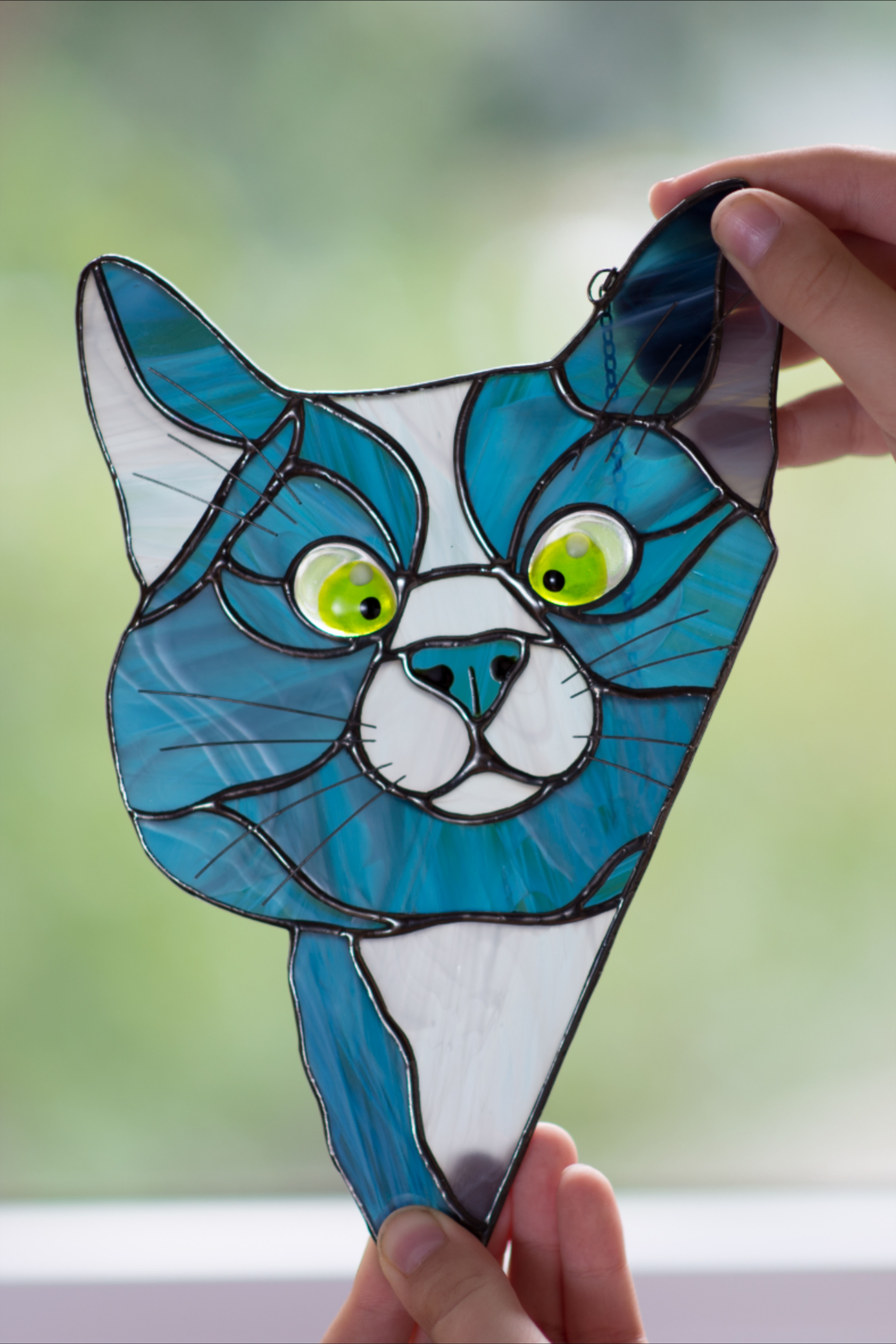Stained glass Cat and Apples hanging