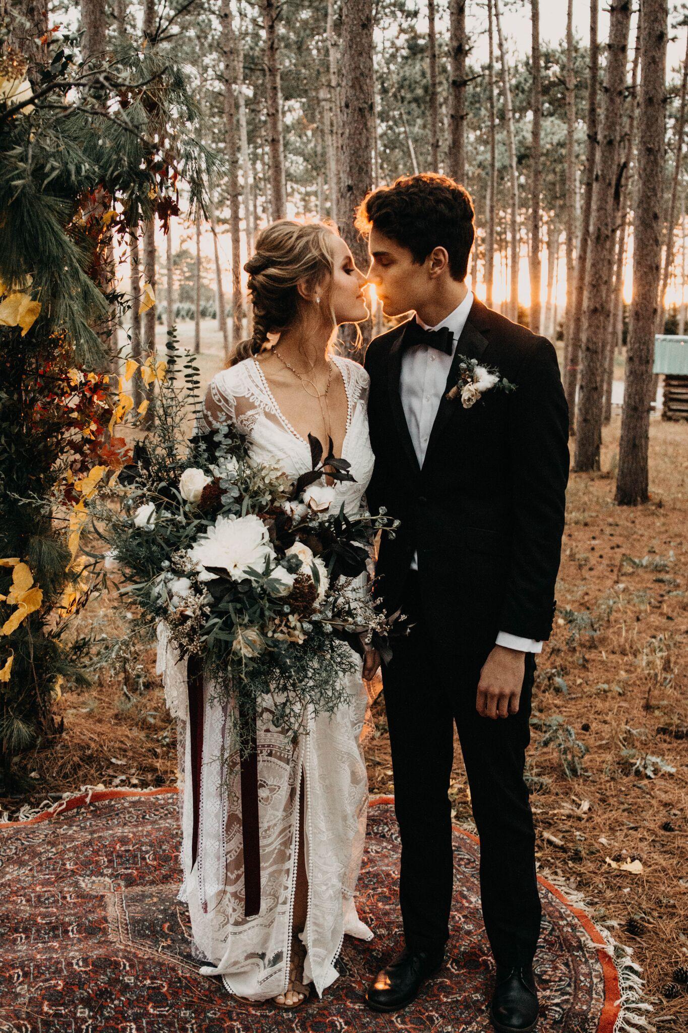 Woodsy forest foliage wedding rue de seine ruby margaux