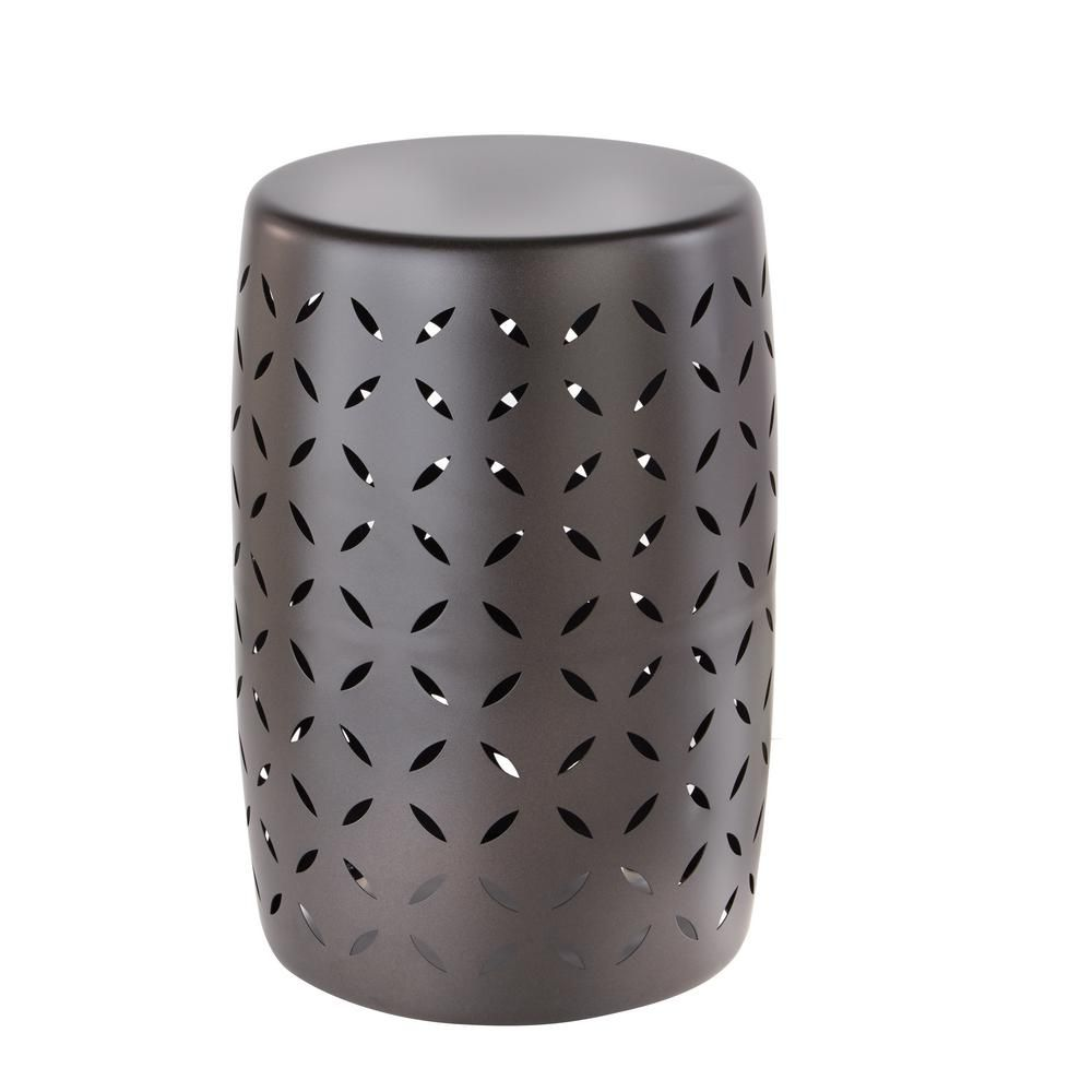 Awesome Hampton Bay Metal Garden Stool With Geo Pattern In Seville Andrewgaddart Wooden Chair Designs For Living Room Andrewgaddartcom
