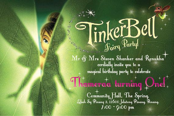 Thank You Cards 10 Personalised Tinkerbell Birthday Party Invitations