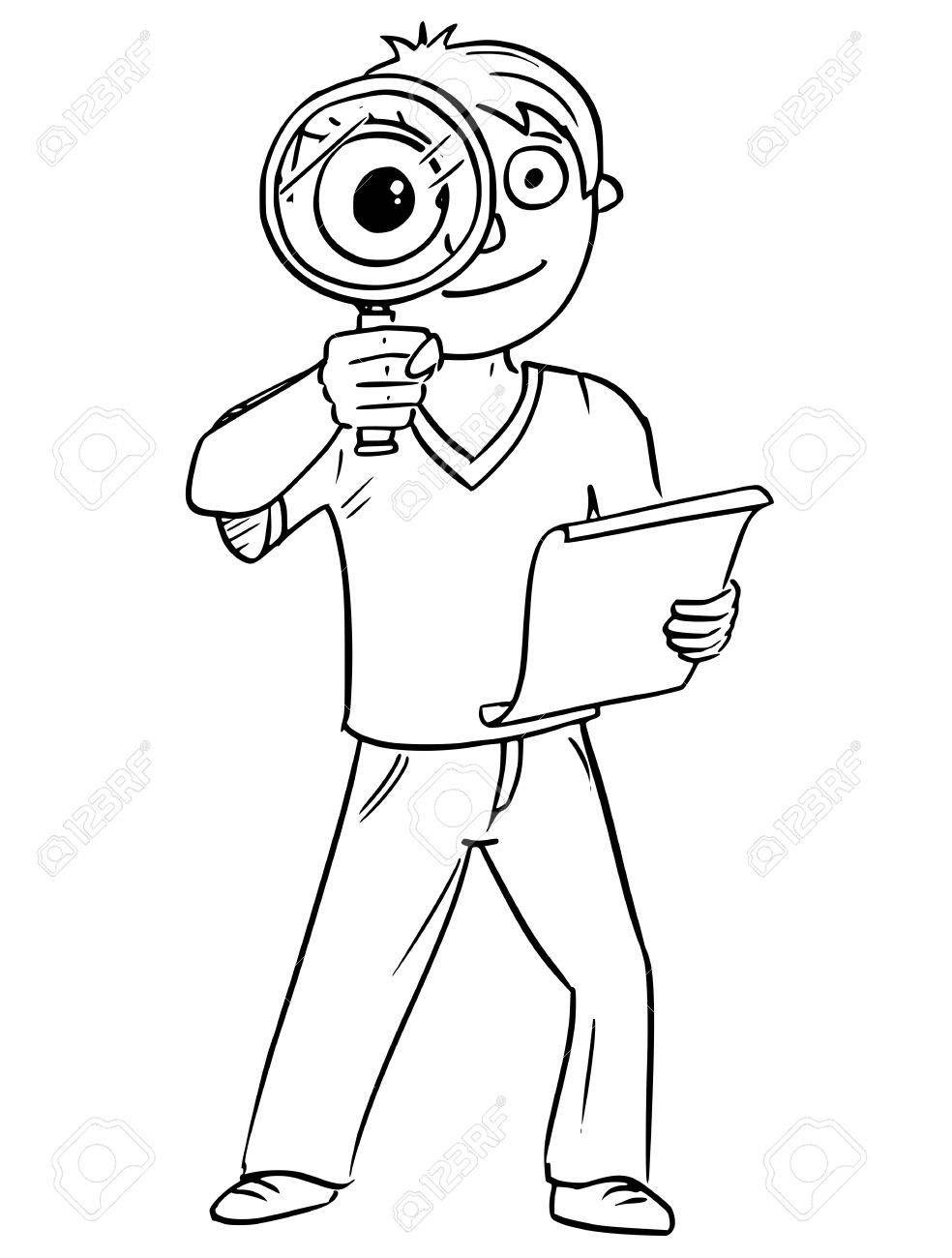 Ilustracion De Vector De Dibujo A Mano De Dibujos Animados De Nino Con Lupa De Mano Y Trozo De Papel Dibujos Animados Dibujos Manos Dibujo