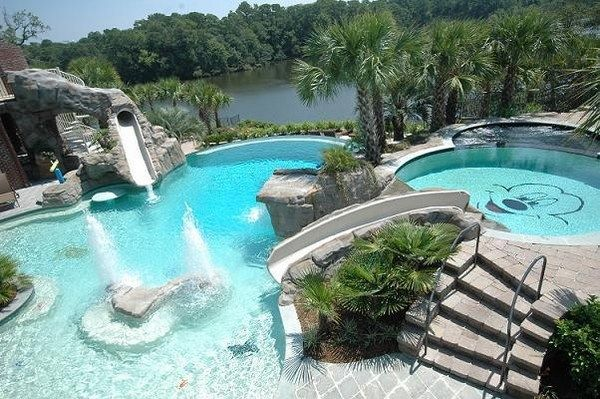 Backyard Pool Design Ideas Amazing Garden Pools With Slide Decorating