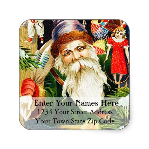 Santa With Toys Vintage Christmas Address Label Stickers Christmas