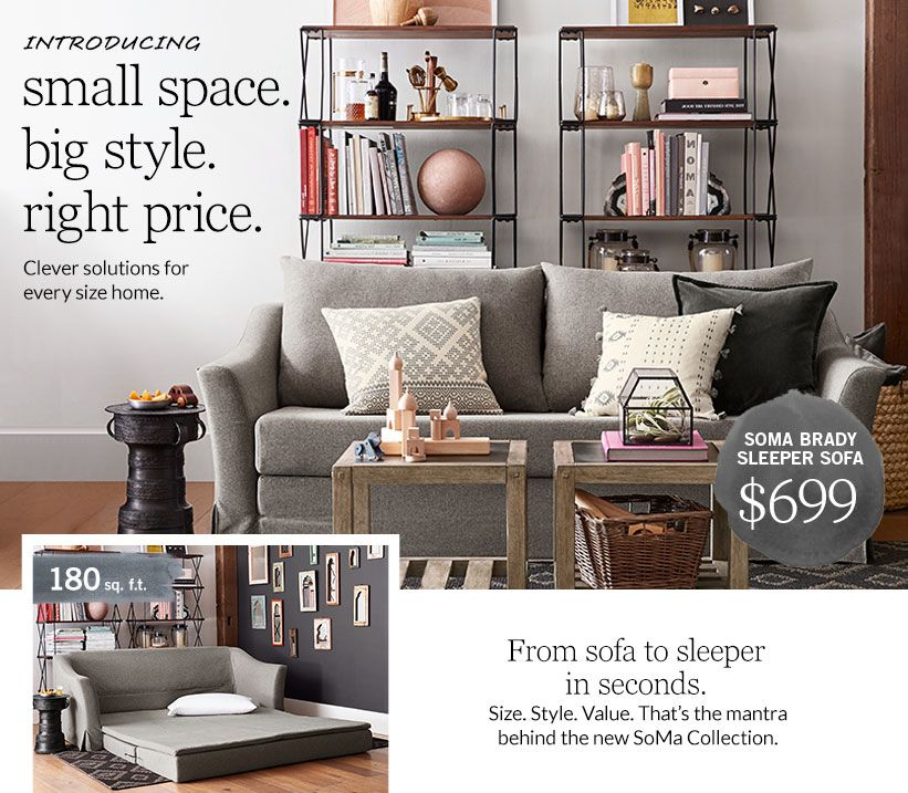 Furniture For Apartments Small Es Pottery Barn