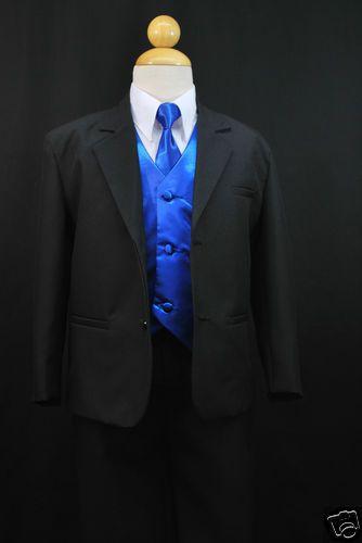 New Baby Boy Formal Wedding Party Black Suit Tuxedo R Blue Vest Bow Tie S-4T