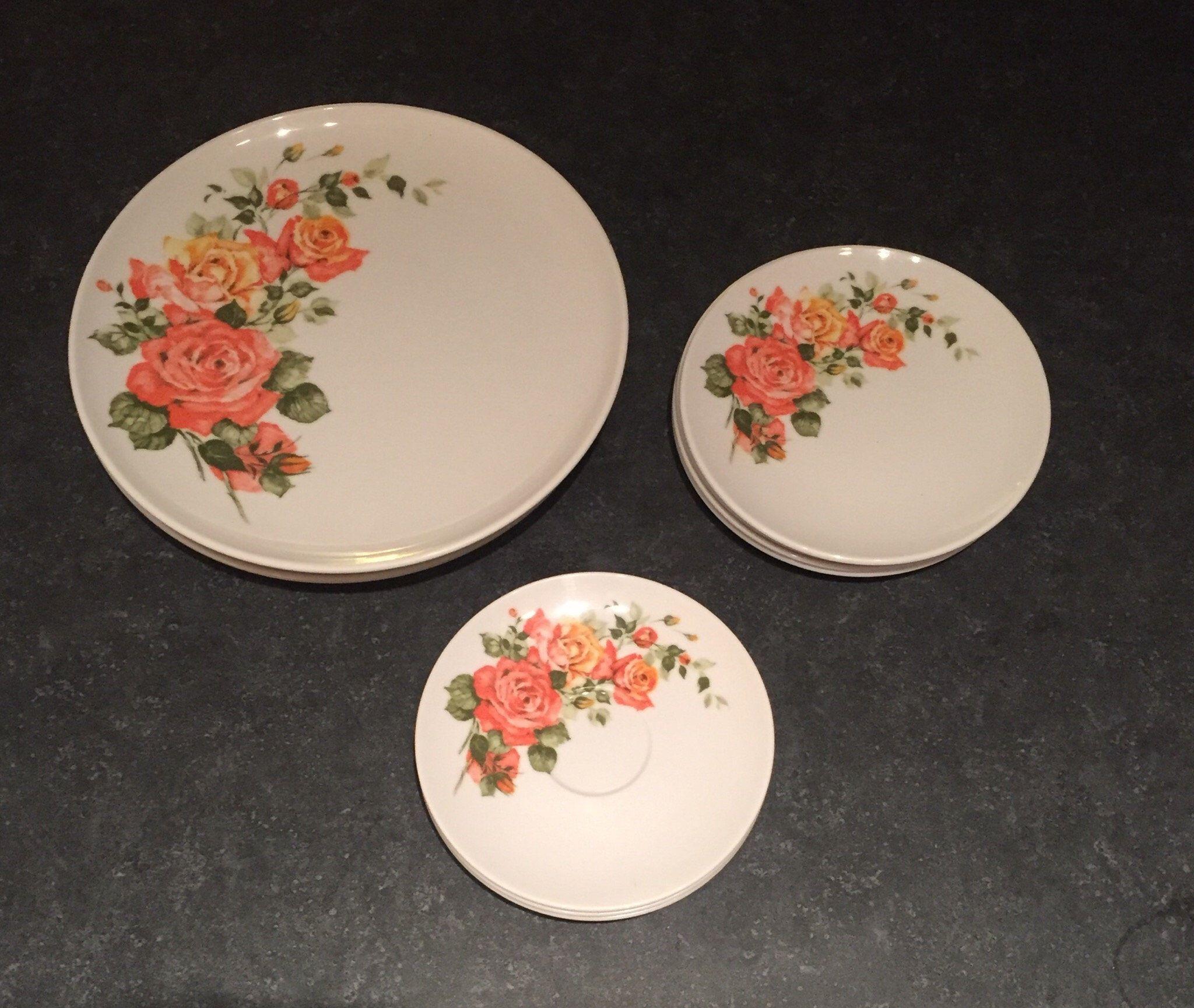 Vintage Dorchester Melmac Melamine Plates Coral Floral Design